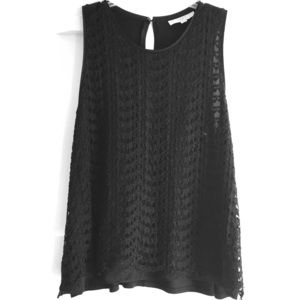 Loft Lace Layered Sleeveless Black Blouse